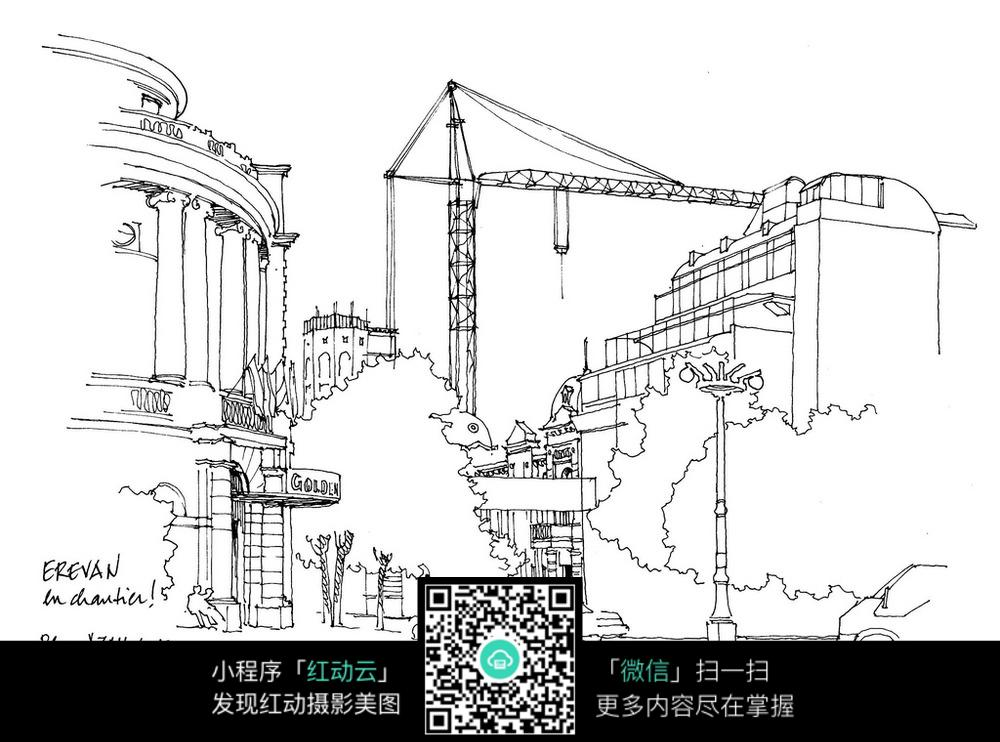 城市手绘线描素材图片