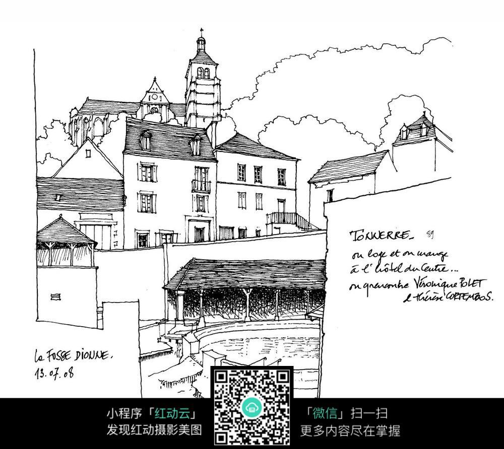 赤水建筑英文线稿插画