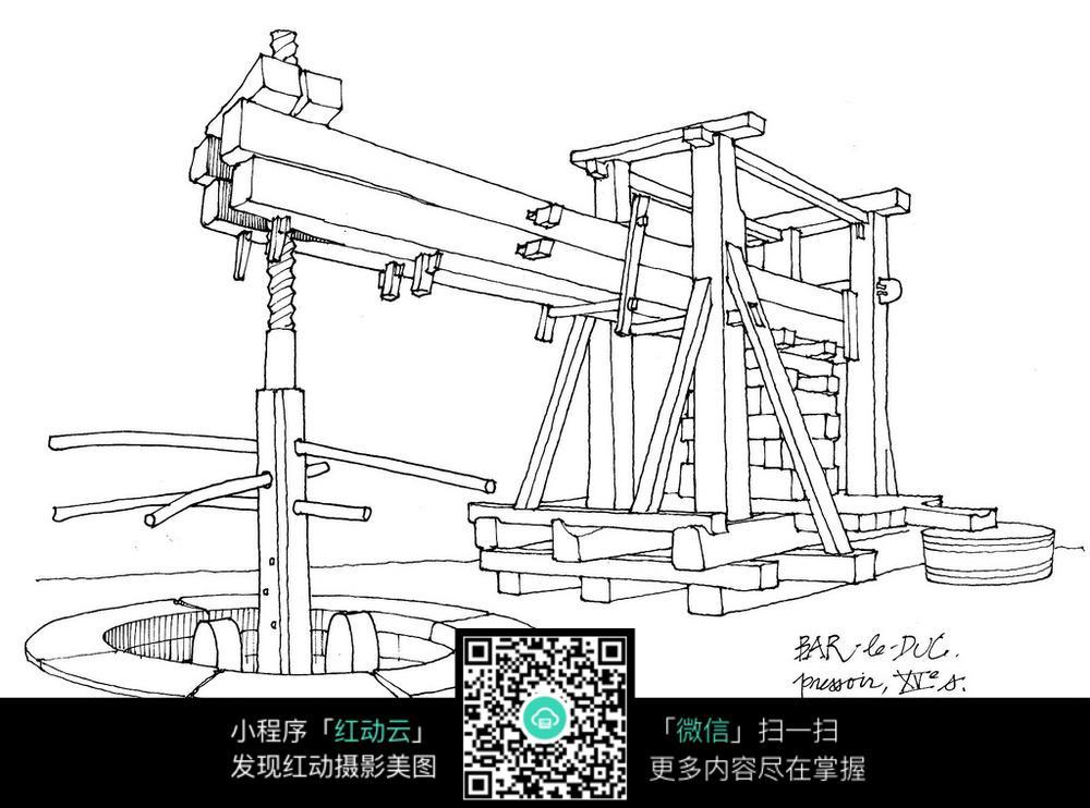 浇灌机器简笔画-抽水碾磨机械手绘线稿图图片免费下载 编号5105308 红动网