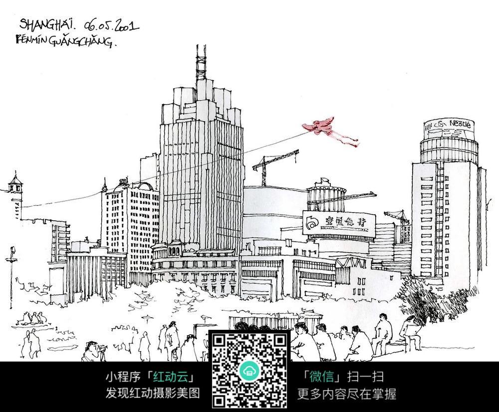 都市建筑手绘图片
