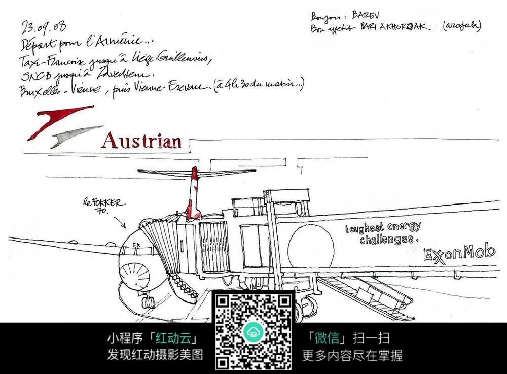 飞机结构手绘线描画图片