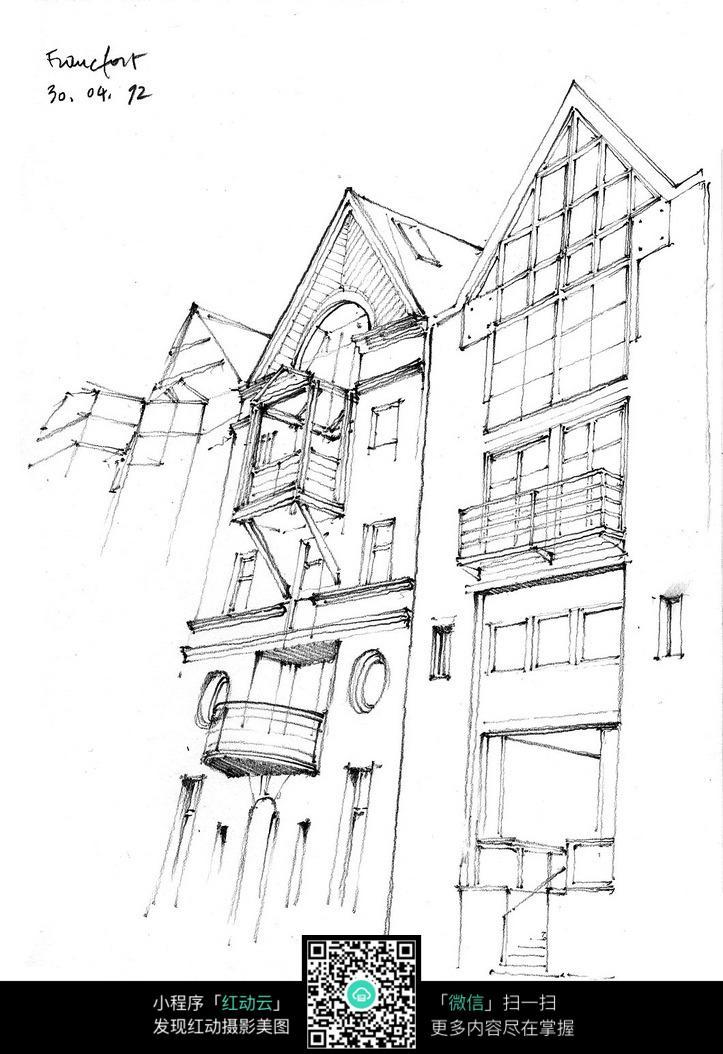 建筑 房屋 古典 黑白 手绘 背景