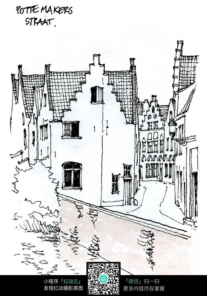 古建筑景观手绘线描画图片