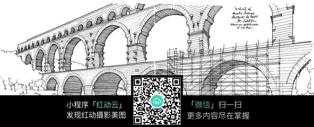 国外大桥建筑手绘图图片