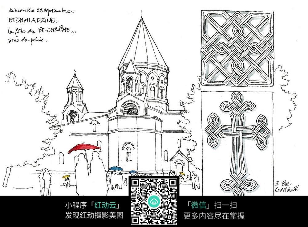 国外街头人群建筑手绘图图片