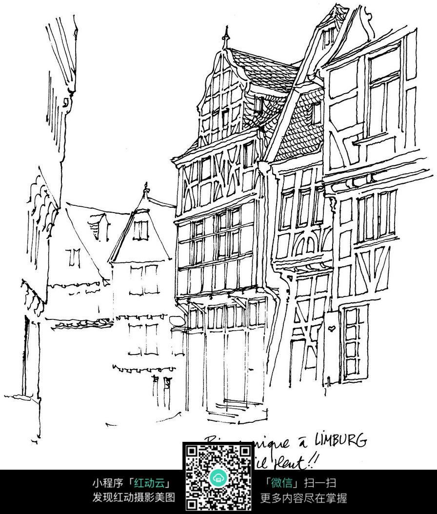 国外小镇建筑手绘图片