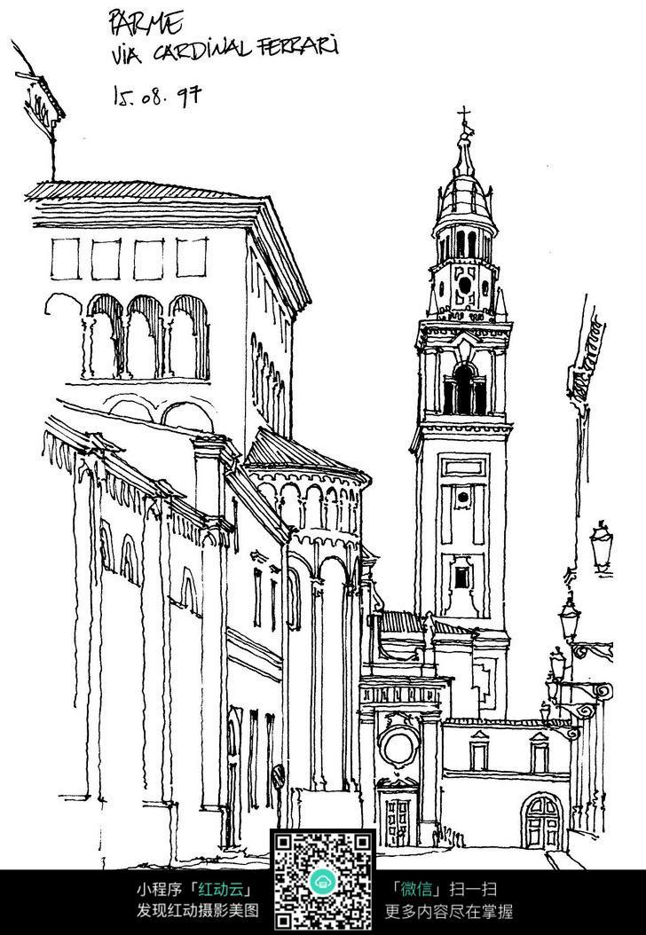 国外钟楼街景手绘图图片