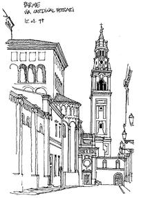 国外钟楼街景手绘图图片图片