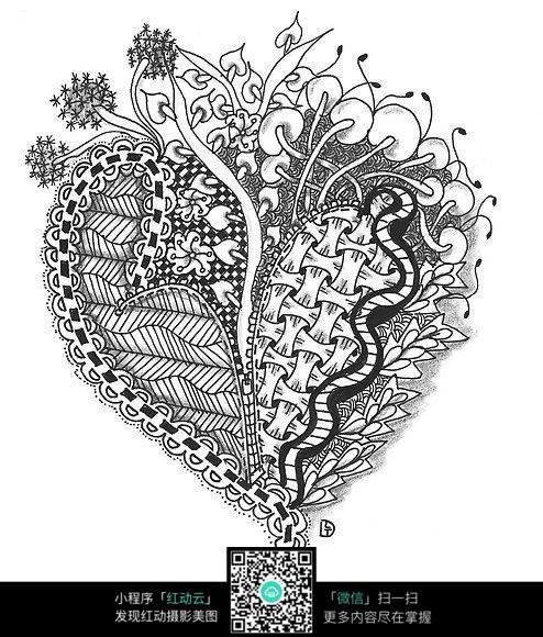 黑白手绘创意花纹图