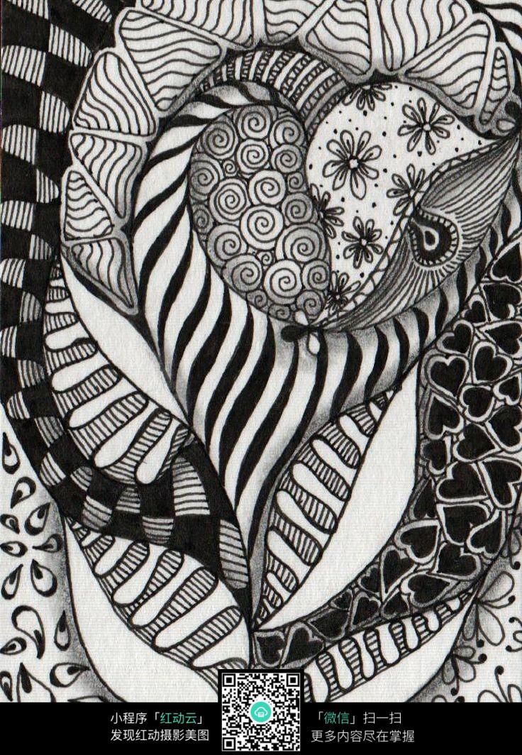黑白手绘花纹花朵