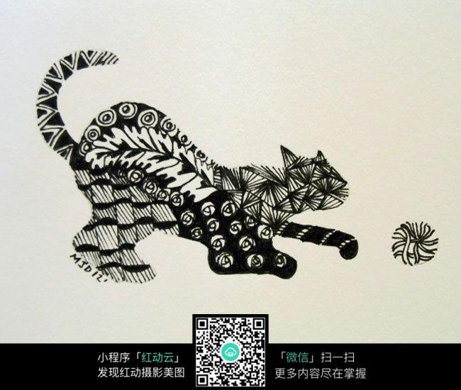 手绘 花斑猫 黑白