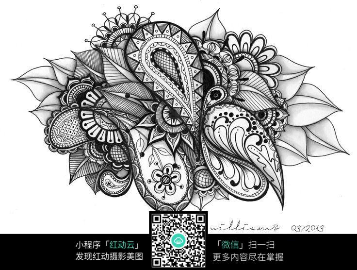 花纹 叶子 图案 美丽 黑白 手绘 构成