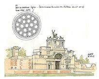 建筑城堡线稿插画