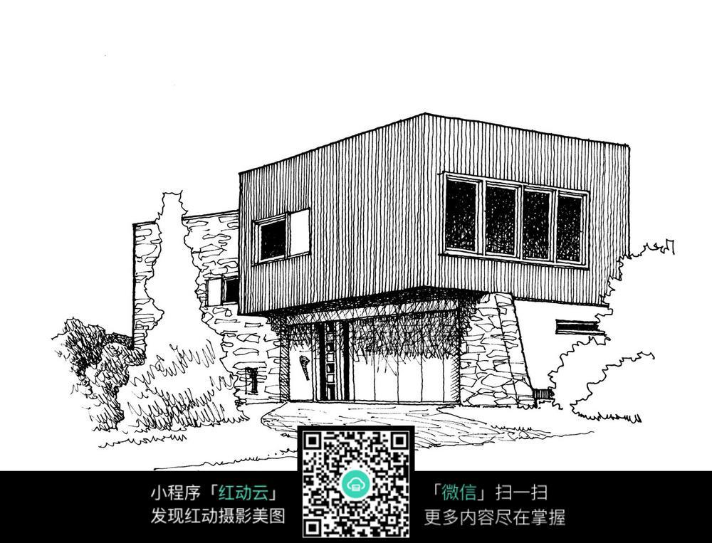 建筑景观手绘线描图图片