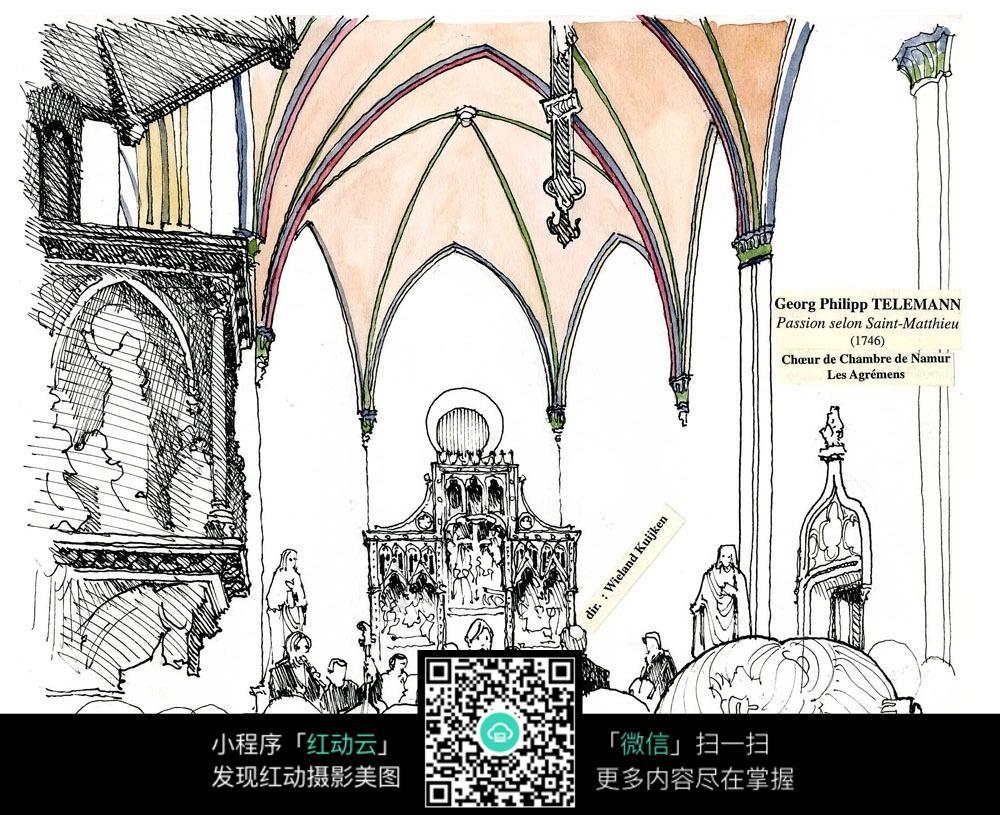 教堂婚礼手绘线描图片