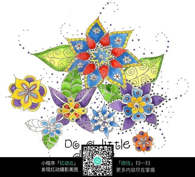 精美手绘水彩花朵图