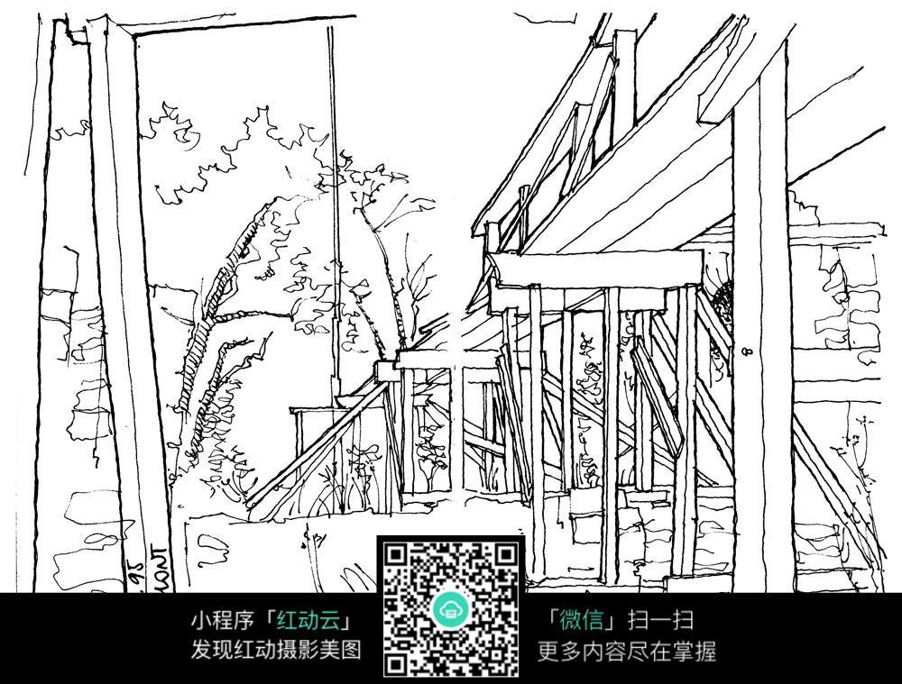 楼房建筑景观手绘线描图图片