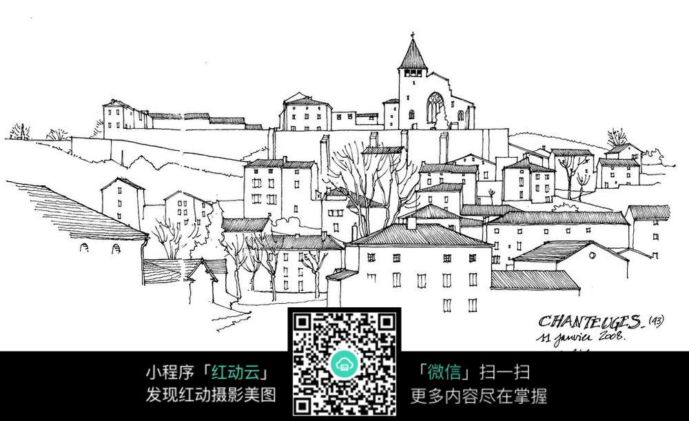 欧式城市建筑手绘线描图图片
