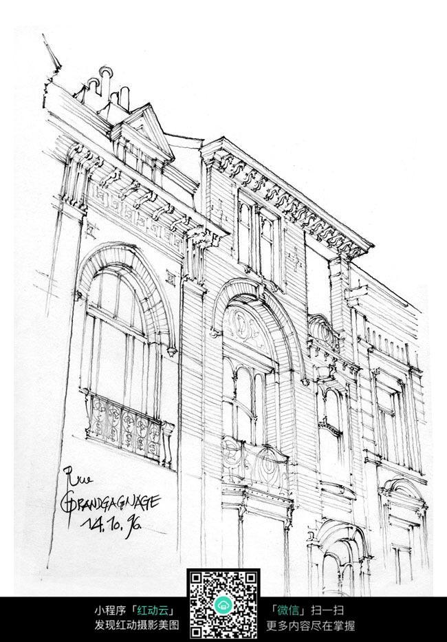 欧式大楼建筑手绘图图片