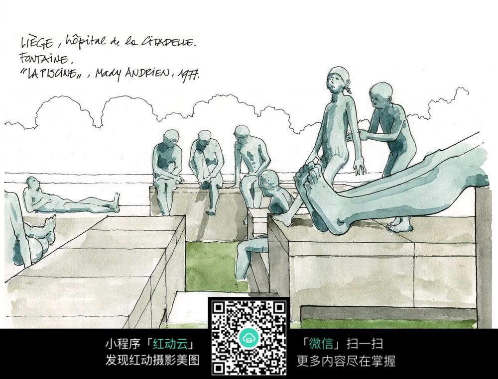 欧式雕塑景观小品手绘线描图图片