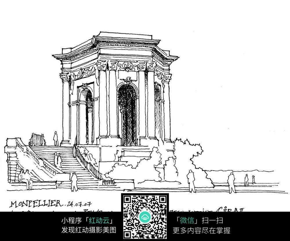 欧式公共建筑手绘线描画图片