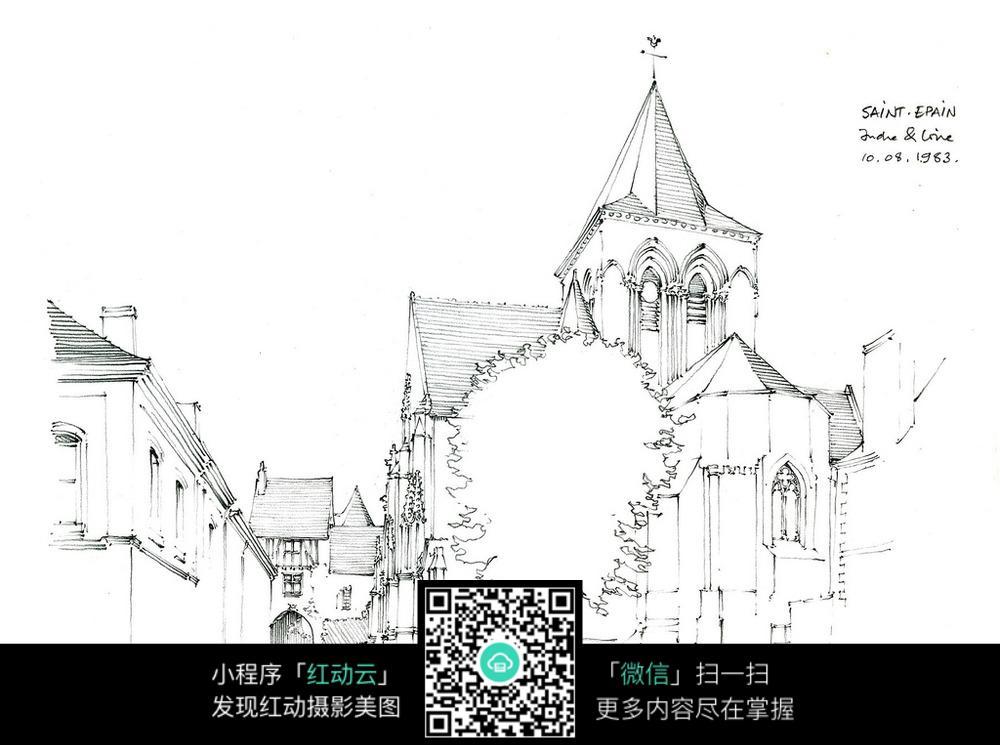 欧式尖顶建筑街道手绘线描图
