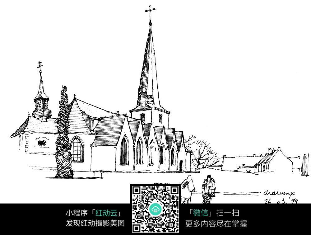 欧式尖顶建筑景观手绘线描画图片