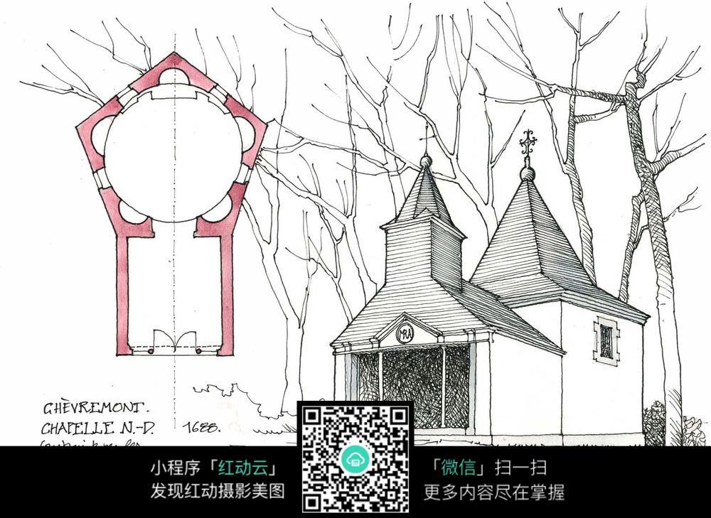 欧式尖顶建筑平面布局手绘水彩线描图图片