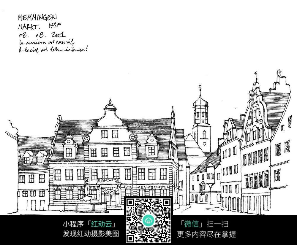 欧式尖顶建筑手绘线描图图片