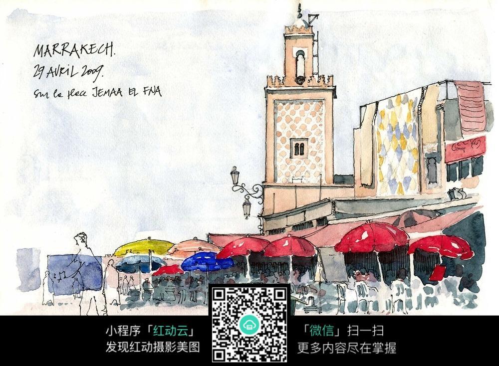 欧式建筑繁忙的街景手绘水彩线描图图片