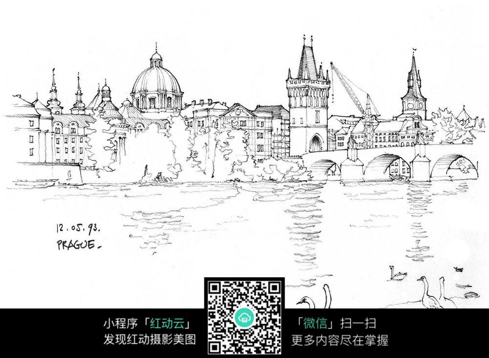 欧式建筑湖景手绘线描画图片
