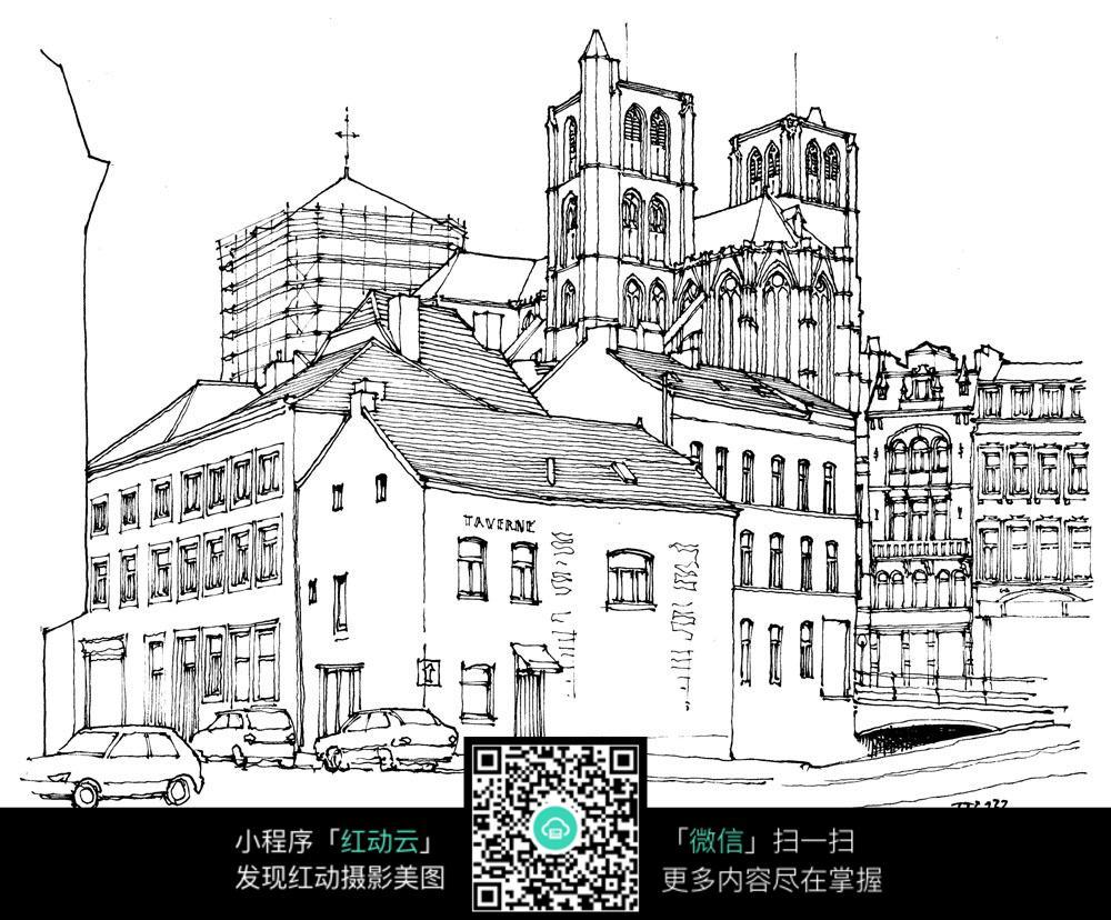 欧式建筑街景手绘线描画图片