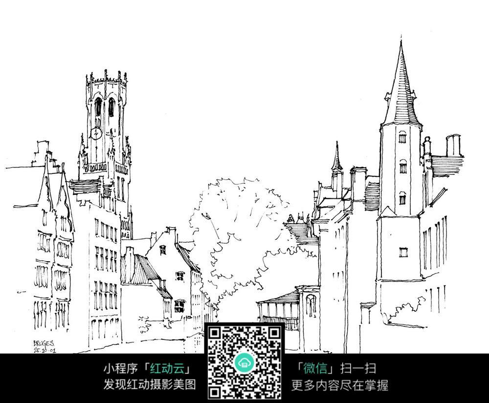 欧式建筑街景手绘线描图图片