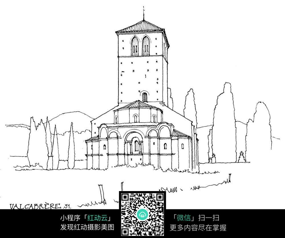 欧式建筑景观手绘线描图形图片