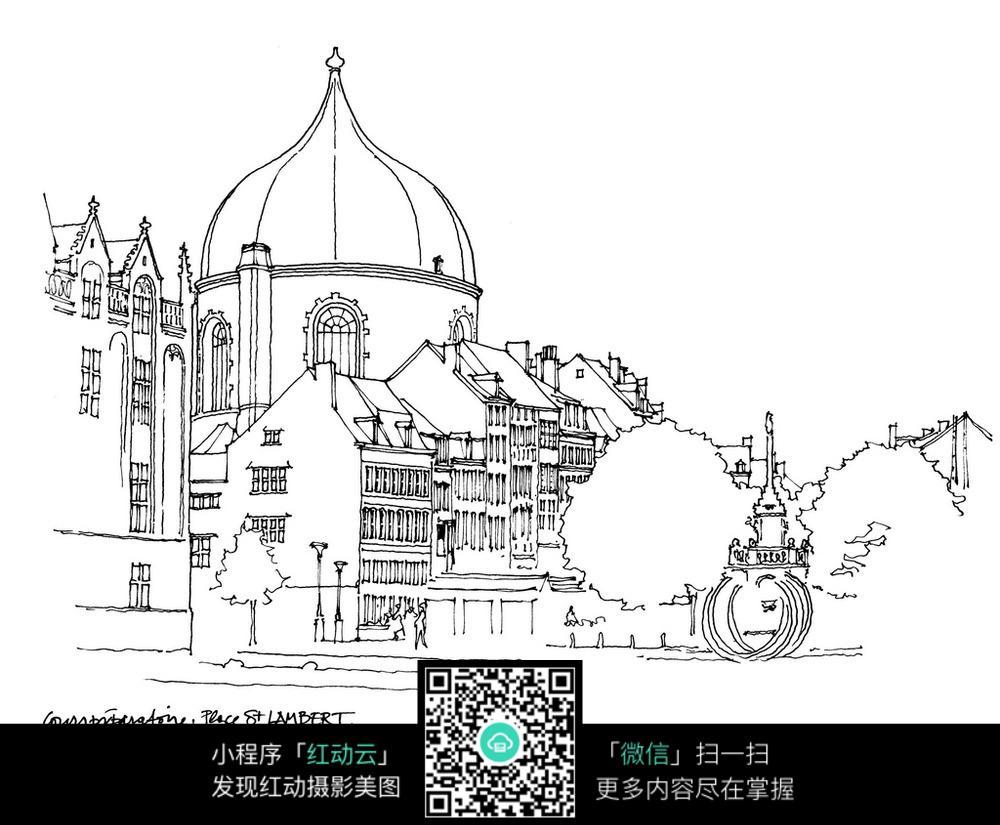 欧式建筑景观线描稿图片