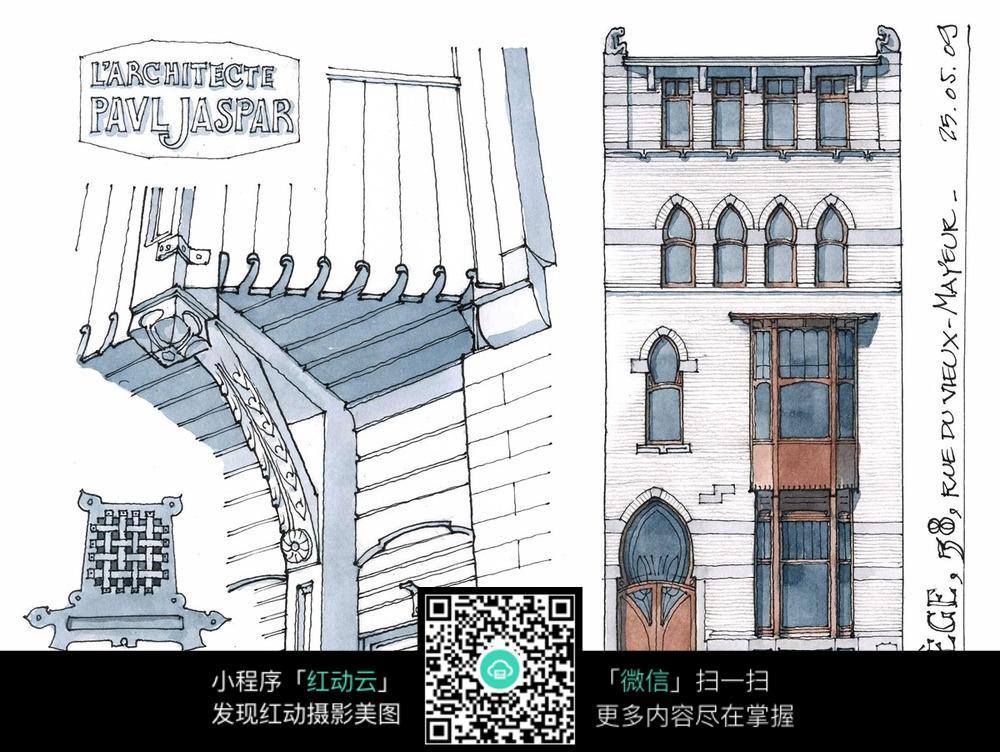 欧式建筑立面平面手绘线描稿图片