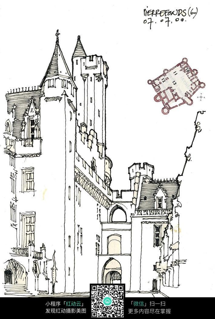 欧式建筑立面平面手绘线描图图片