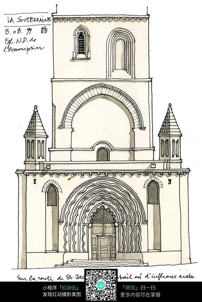 欧式建筑立面手绘线描图图片
