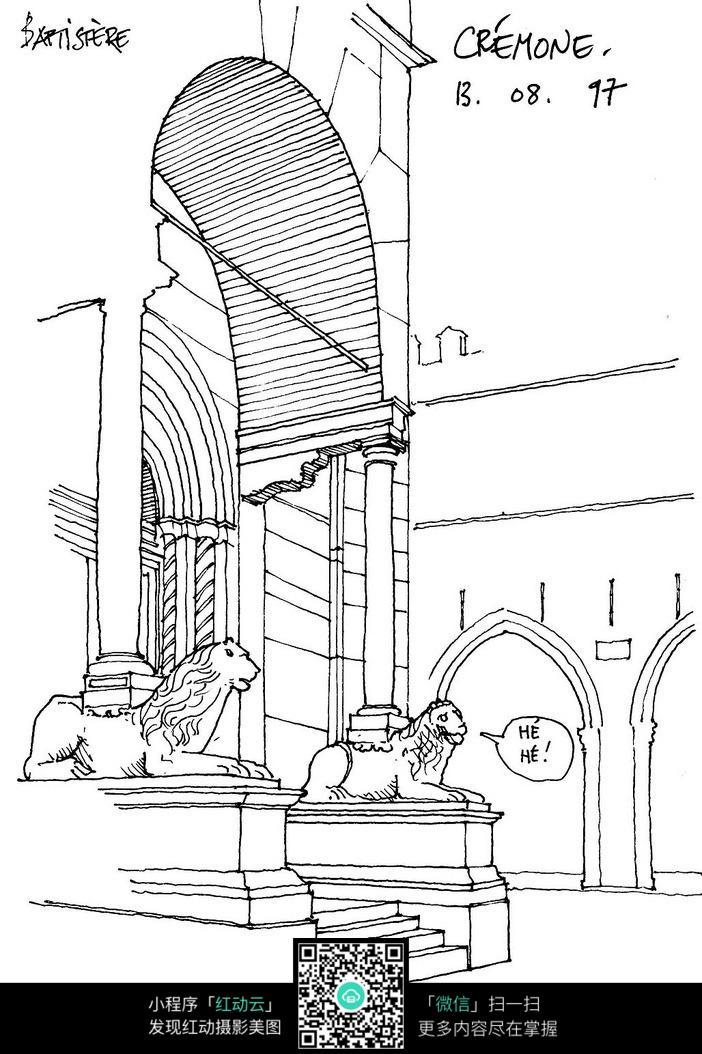 欧式建筑门墩线描稿图片
