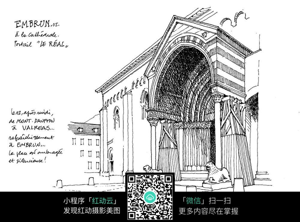 欧式建筑门头手绘线描画图片