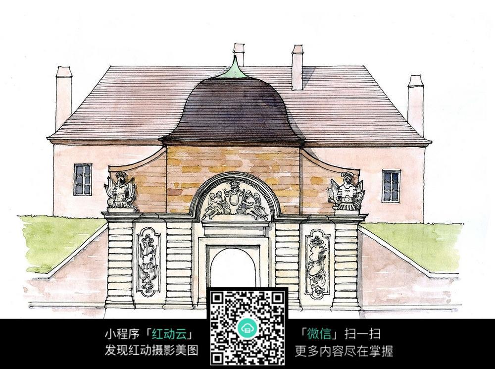 欧式建筑门头外立面手绘水彩画图片