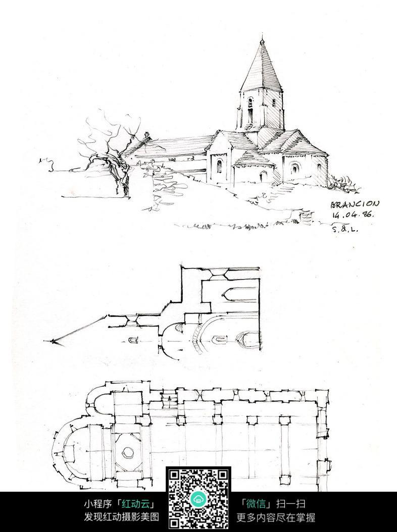 欧式建筑平面手绘线描图图片