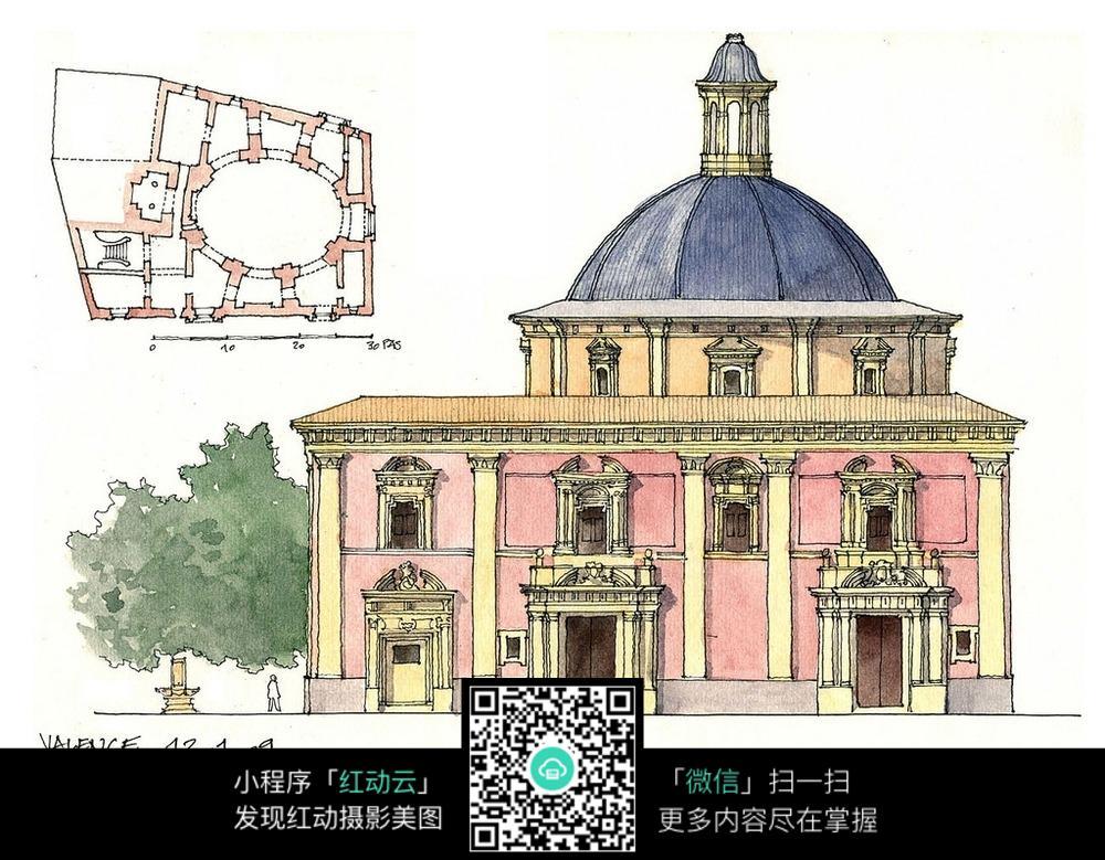 欧式建筑平面水彩手绘线描图图片