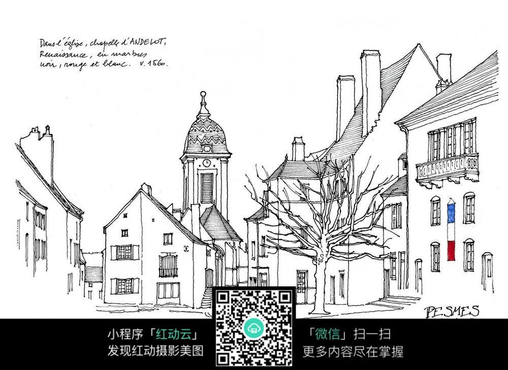 欧式建筑手绘线稿画图片