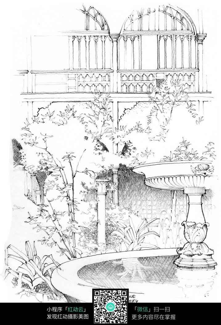 欧式建筑庭院景观线描稿图片