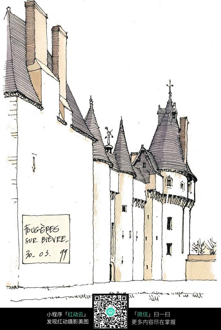欧式建筑外立面手绘水彩图图片