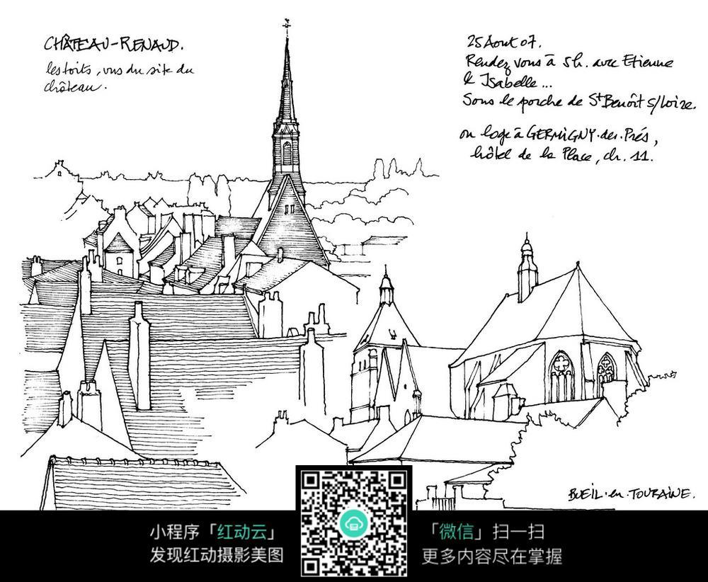 欧式建筑屋顶手绘线描画图片