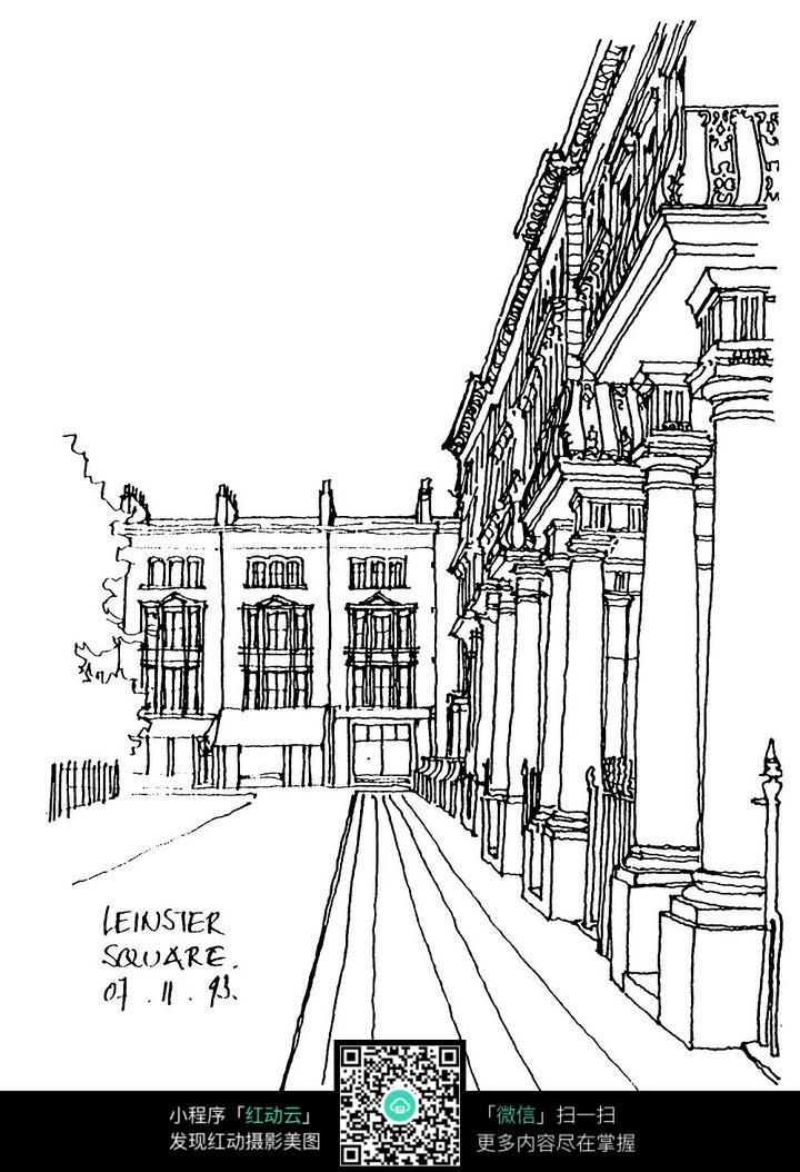 欧式建筑走道线描稿图片