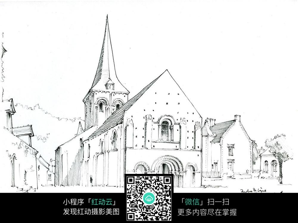 欧式教堂手绘图图片
