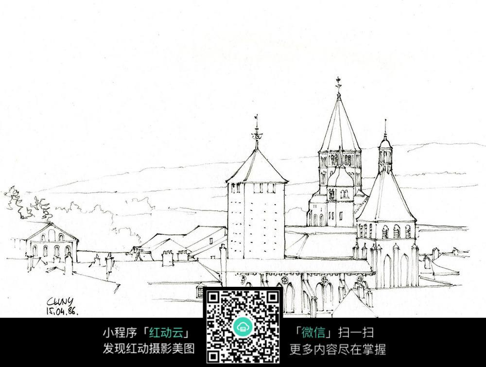 欧式教堂手绘图